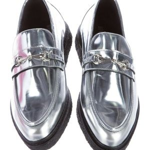 OPENING CEREMONY Silver Metallic Platform Loafer 9